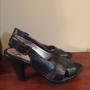 Sofft black peep toe sling back heels